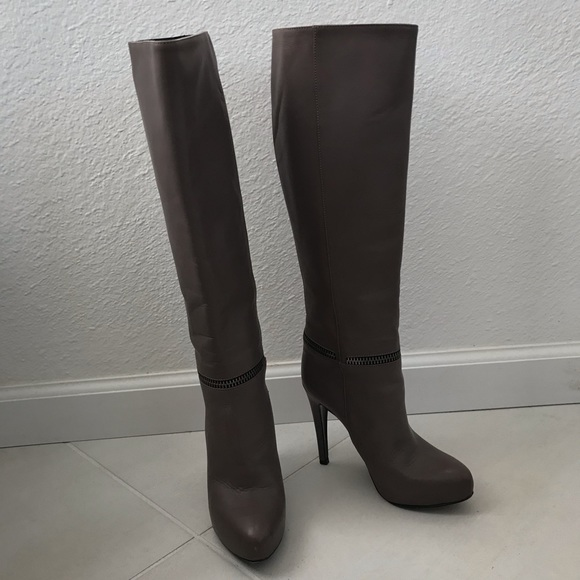 All Saints Shoes Allsaints Karis Leather Zip Detail Knee Boot